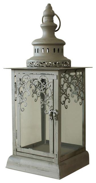 Grey Green Rustic Glass Candle Lantern