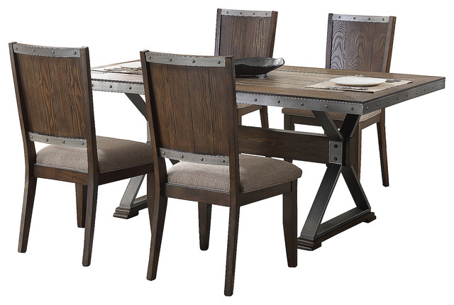 Dark Oak With Marble Center Top 5 Piece Rectangular Dining Set Industrial  Dining