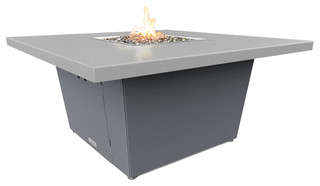 """Square Fire Pit Table, 44""""x44"""", Chat Height, Propane, Hilltop Gray Top, Gray"""