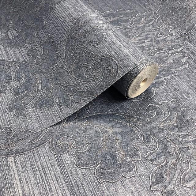125005 Blue Damask Metallic Wallpaper, Triple Roll - 75.57 Sq.ft. -1