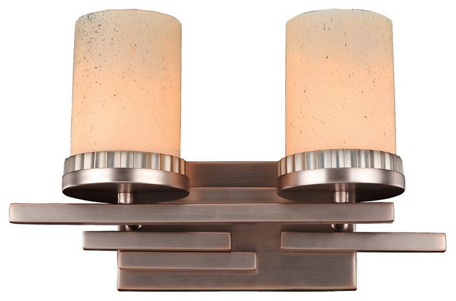 Kalco Lighting Brushed Bronze With Stone Glass 2 Light Bath View In Your Room Houzz