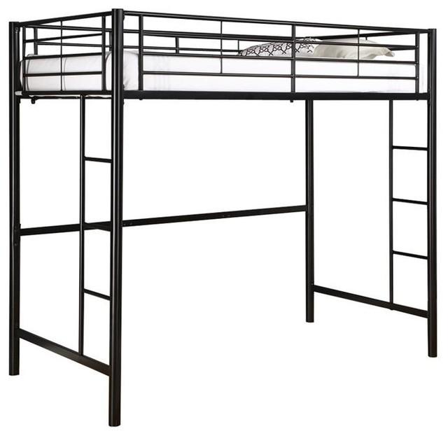 Loft Bunk Bed In Black, Tubular Steel Twin.