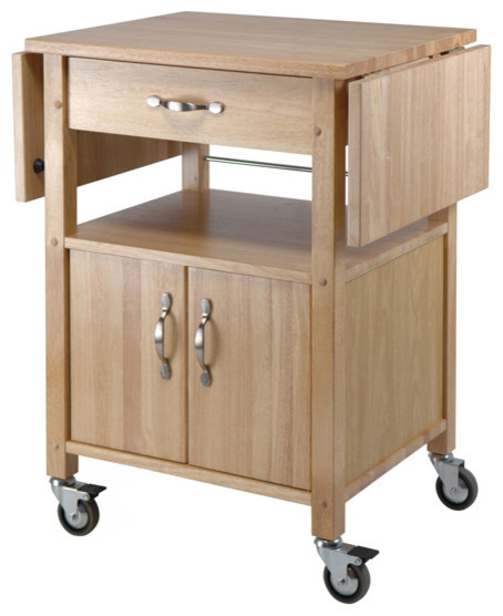 Kitchen Cart, Double Drop Leaf, Cabinet With Shelf Transitional Kitchen  Islands