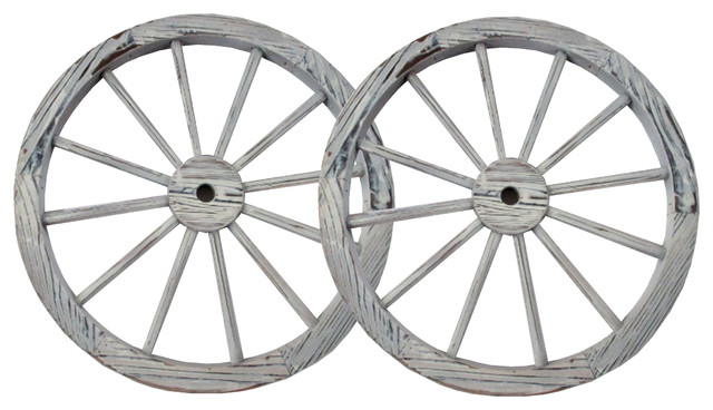 "30"" Steel-Rimmed Wooden Wagon Wheels, Decorative Wall Decor, Set of 2, White"