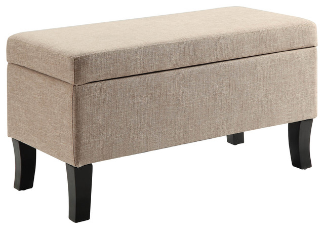 Convenience Concepts Designs4Comfort Winslow Storage Ottoman, Ribbon, Tan  Transitional Footstools And