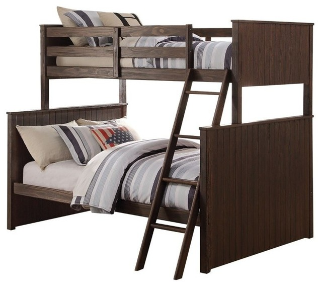 Hector Twin-Over-Full Bunk Bed, Antique Charcoal Brown.