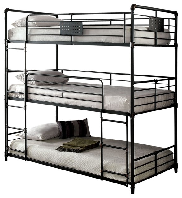 f78a5a31e5eb2 Reston Metal Triple Bunk Bed - Industrial - Bunk Beds - by Totally ...