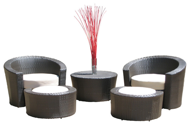 Outdoor Wicker Resin All Weather 5 Piece Lounge Chair And Ottoman Set