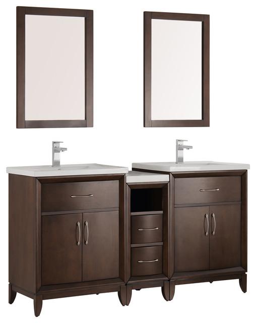 Cambridge 60 antique coffee double sink traditional bathroom vanity traditional bathroom - Traditional bathroom vanities double sink ...