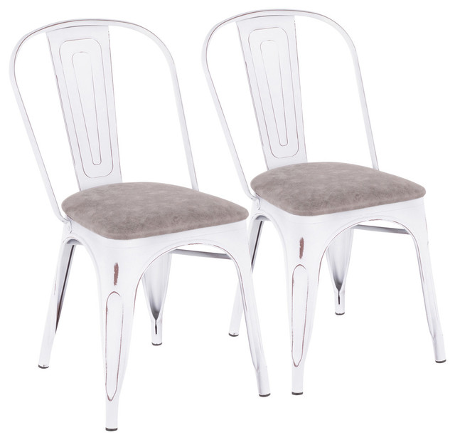 Oregon Industrial-farmhouse Stackable Dining Chair, Set of 2, Vintage White Meta