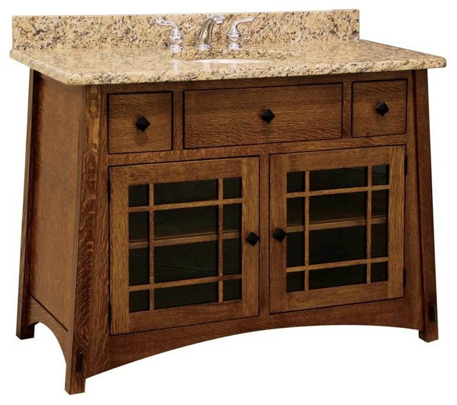 Delightful Mccoy Bathroom Vanity, Oak, Natural, Glass Door Craftsman Bathroom Vanities