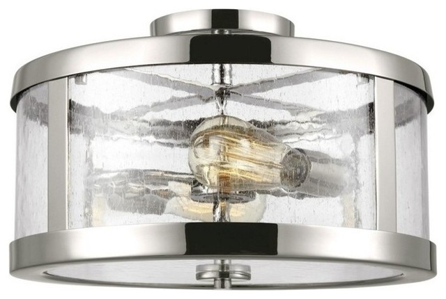 Feiss Sf341 Harrow 2 Light 15 Semi-Flush Drum Ceiling Fixture With Seeded.