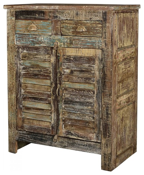 42 T Tranquillino Cabinet Distressed Paint Finish Hand Crafted Old Teak Wood