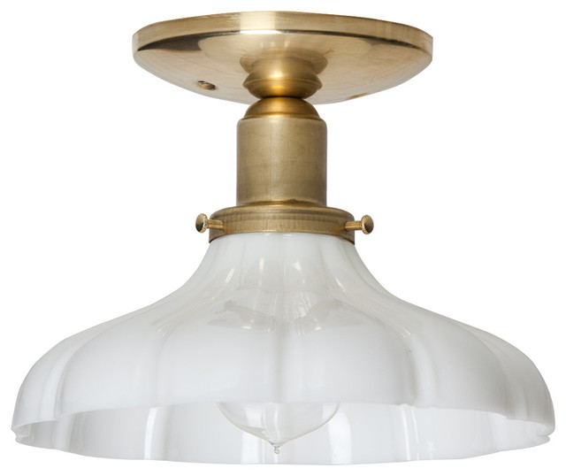Vintage Milk Gl Ceiling Light Br Base Traditional Flush Mount Lighting By Two Kings Company