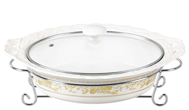 "D&x27;lusso Designs 14""gold Rose Oval Casserole With Metal Stand."