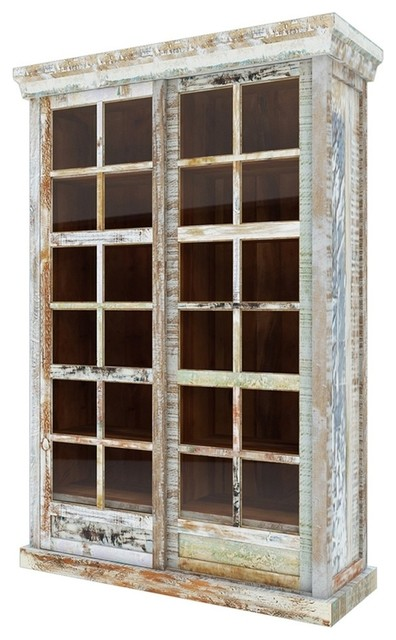 Tucson Rainbow Rustic Reclaimed Wood Glass Door Display Cabinet Farmhouse Storage Cabinets By Sierra Living Concepts
