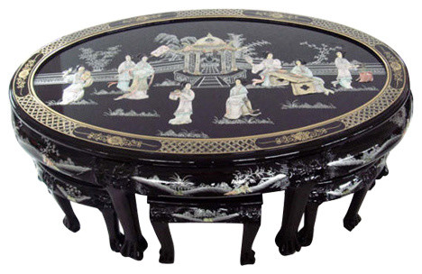 Shiny Black Lacquer Oriental Coffee Table Inlaid Pearl And 6 Stools 7 Piece Set