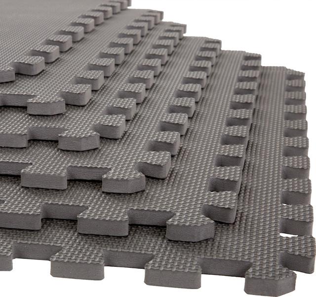 Stalwart Interlocking Eva Foam Floor Mats Gray 24x24x 5 Set Of 6 Home Gym Equipment By Trademark Global