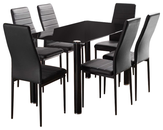 Lunar Rectangle Black Glass Dining Table and Montero Dining Chairs Set, 6 Chairs
