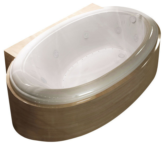 """Petite 42""""x70"""" Oval Whirlpool Jetted Bathtub, Right."""