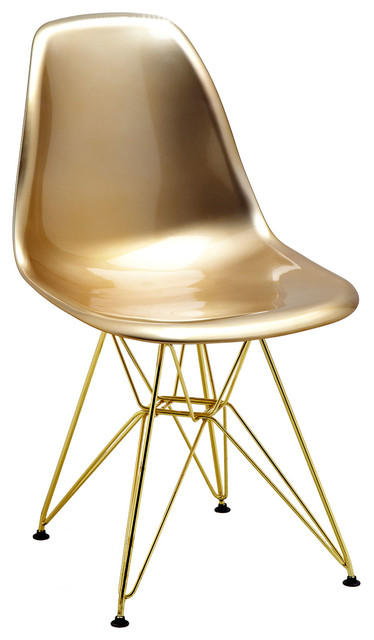 Superbe Mid Century Gold Side Chairs With Gold Wire Base, Set Of 5