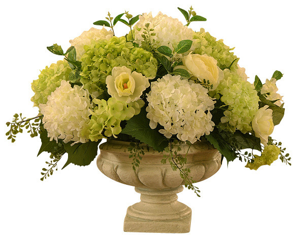Floral Home Decor White And Green Hydrangea Large Silk
