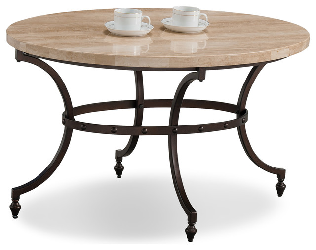 Leick Home Oval Travertine Stone Top Coffee Table With Rubbed Bronze Metal Base Table Tops And