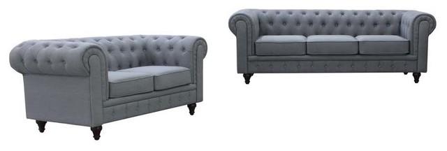 Leon 2 Piece Chesterfield Sofa Set