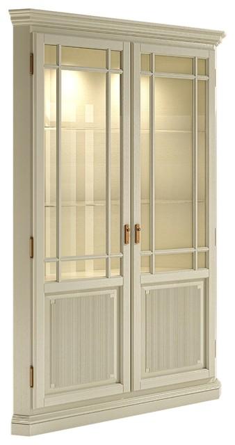 Solid Pine Duett Locking 2-Door Corner Cabinet With Glass Panes, Cream.