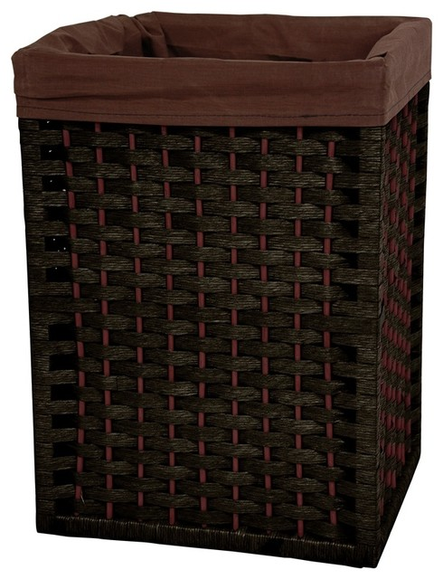 17 in high natural fiber basket black contemporary hampers by shopladder - High end laundry hamper ...