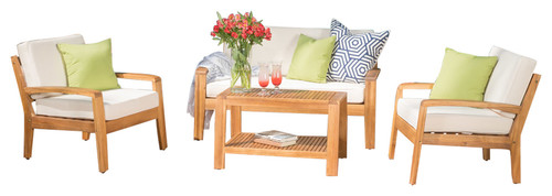 Parma Outdoor 4-Piece Wood Chat Set With Water-Resistant Cushions, Beige