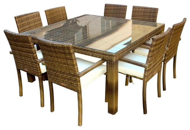 Resin 9 Piece Dining Set Contemporary Outdoor Dining Sets