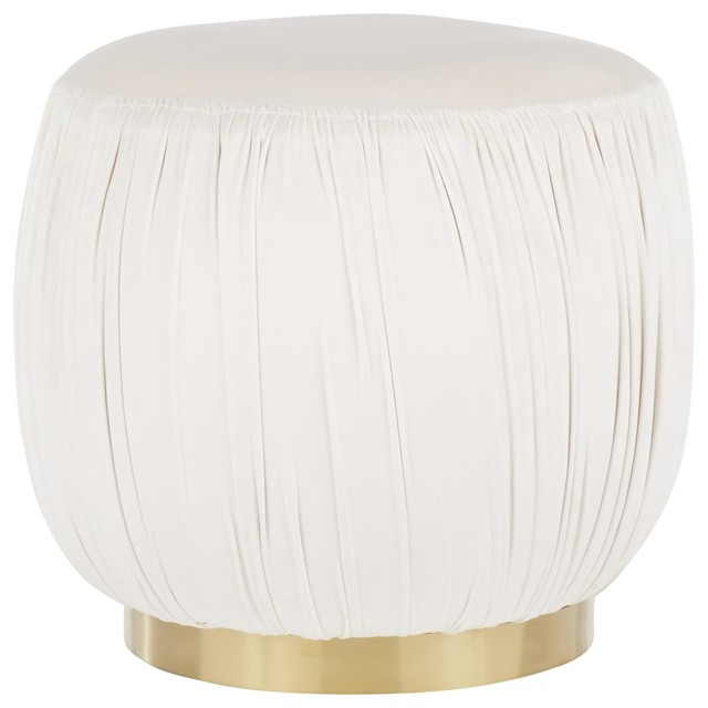 Ruched Ottoman, Gold Metal, Cream Velvet