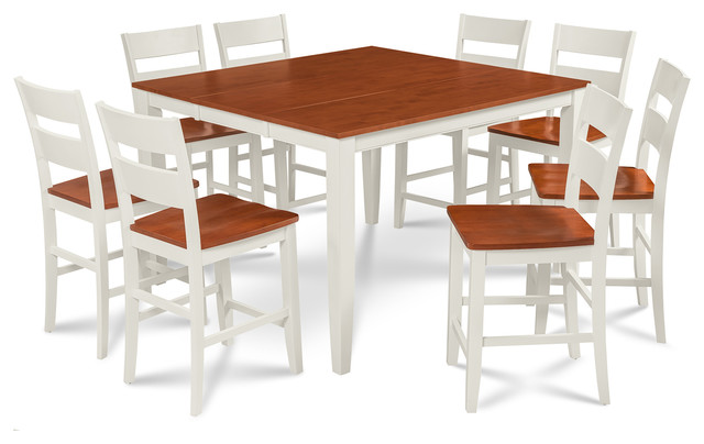 Sunderland 9 Piece Counter Height Dining Set 18 Erfly Leaf White Cherry