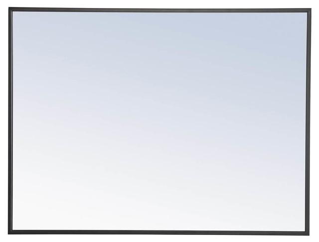 24 in. Metal Frame Rectangular Mirror in Black Finish