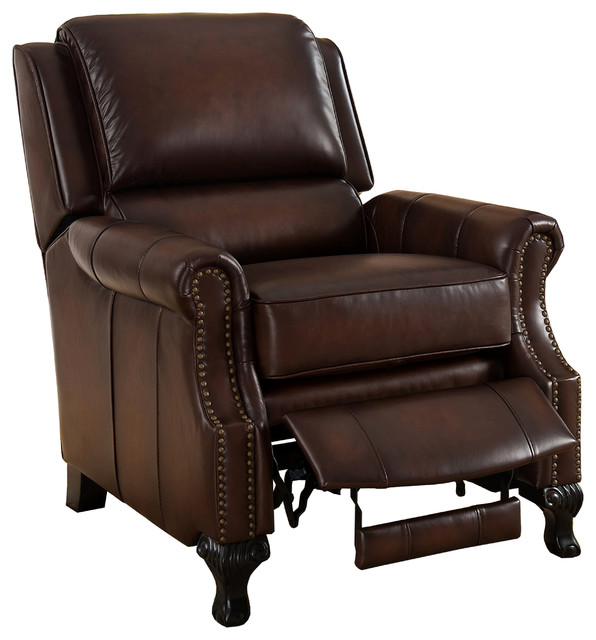 Milari 100 Leather Recliner Chair Brown Transitional