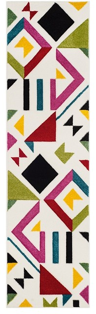 Contemporary Hollywood Area Rug, Ivory/rose, Runner 2&x27;2x8&x27;.