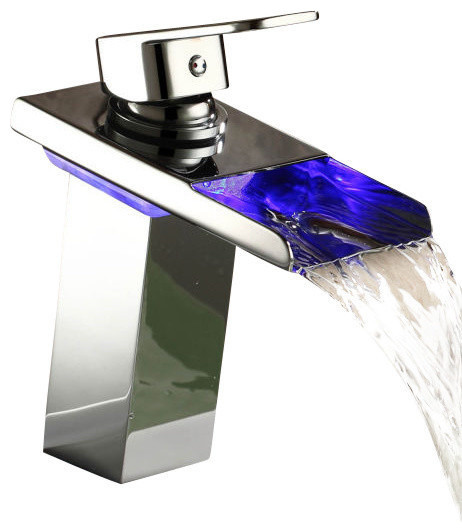 Led Color Changing Vessel Sink Waterfall Faucet Contemporary
