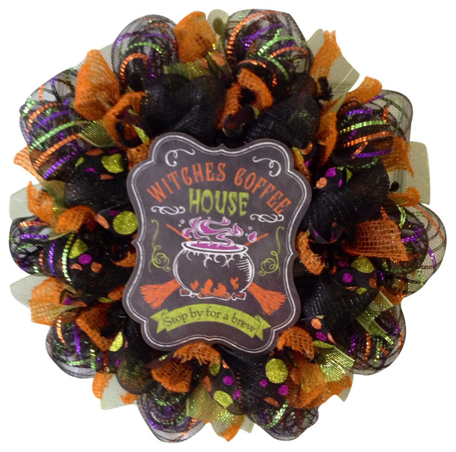 Witches Coffee House Stop By For A Brew Halloween Handmade Deco Mesh Wreath.