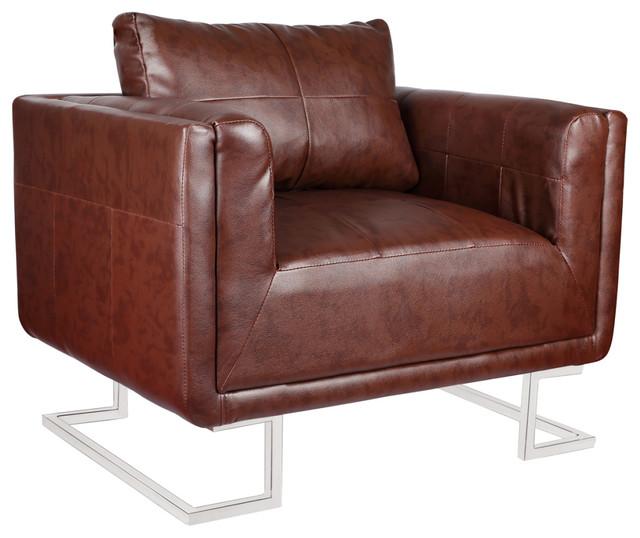 Brown Luxury Cube Armchair With Chrome Feet.