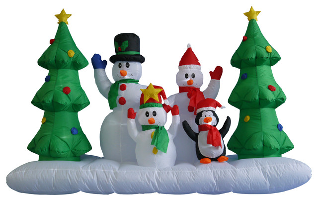snowmen with christmas trees and penguin contemporary outdoor holiday decorations