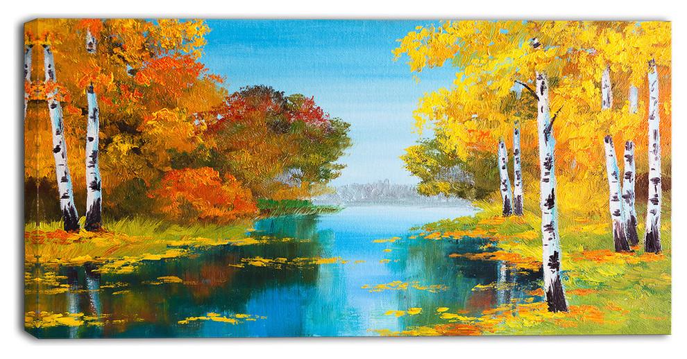 Birch Forest Near The River Landscape Canvas Print 32 X16 Modern Fine Art Prints By Fabuart