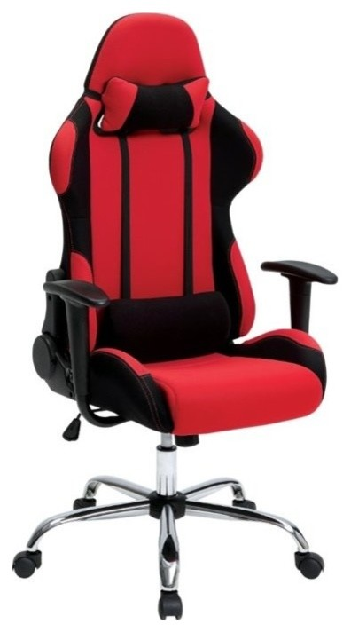Furniture of America Helium Adjustable Reclining Office Chair, Red