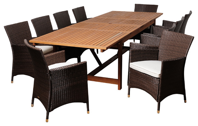 August 11-Piece Eucalyptus And Wicker Extendable Patio Dining Set.