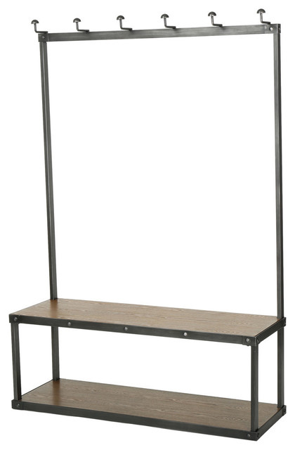 GDF Studio Elaine Brown Entry Bench With Coat Rack