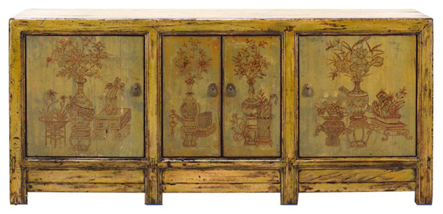 Chinese Yellow Green Flower Vases Sideboard Buffet Table Cabinet Hcs1300  Asian Buffets And
