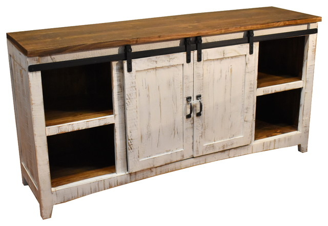 Rustic 68 White Barn Door Media Console Farmhouse Entertainment