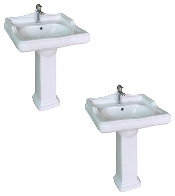 White Pedestal Sink Grade A Vitreous China Scratch Resistant Set Of 2.