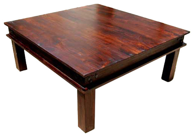 Rustic Solid Wood Large Square Coffee Table