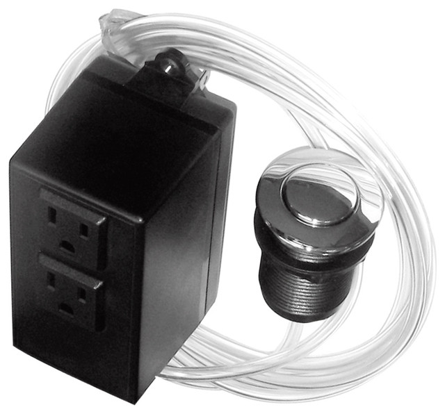 Disposal Air Switch And Single Outlet Control Box, Polished Chrome.